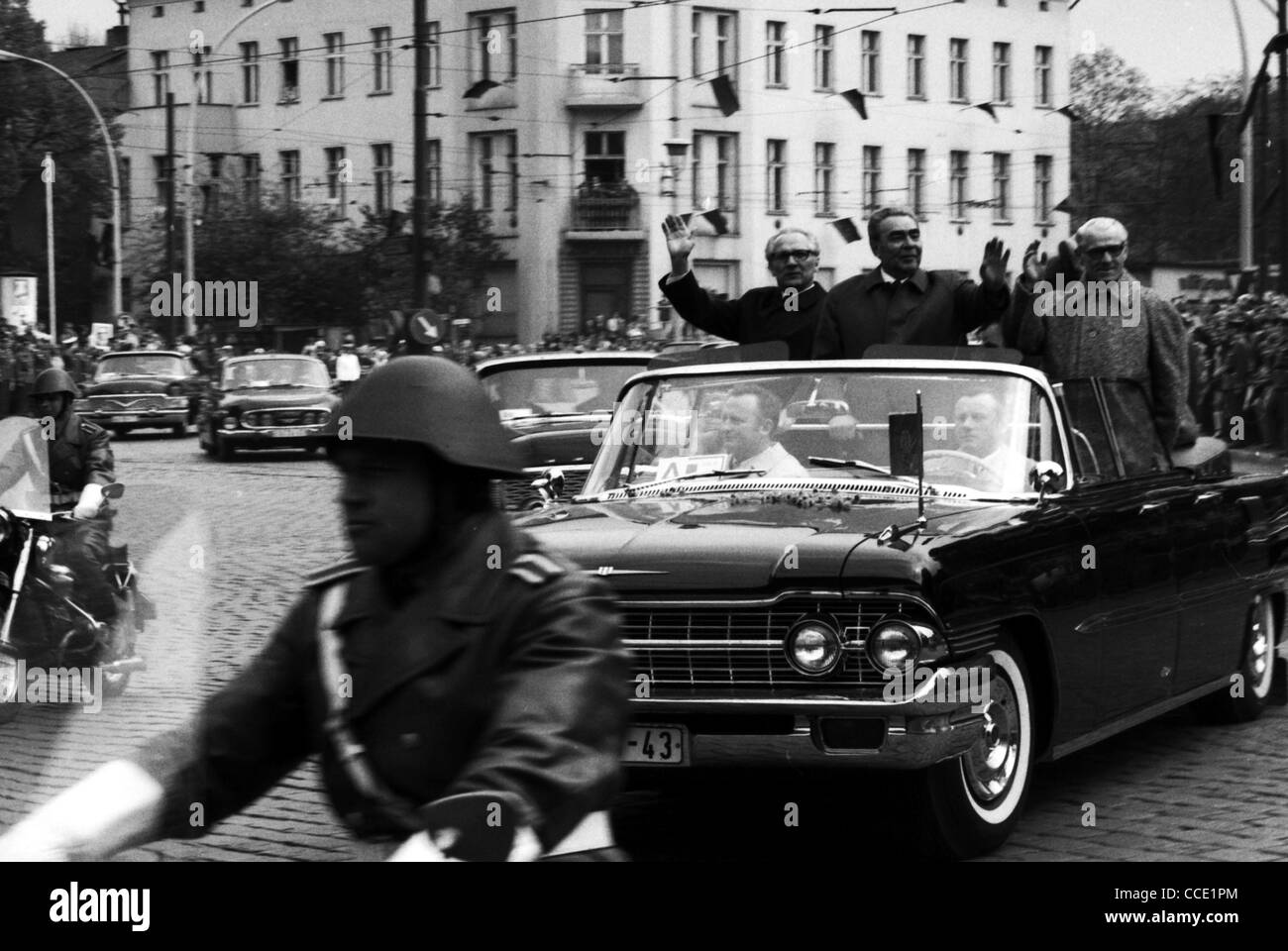 state visit of the soviet party leader leonid brezhnev in east berlin stock photo royalty free. Black Bedroom Furniture Sets. Home Design Ideas