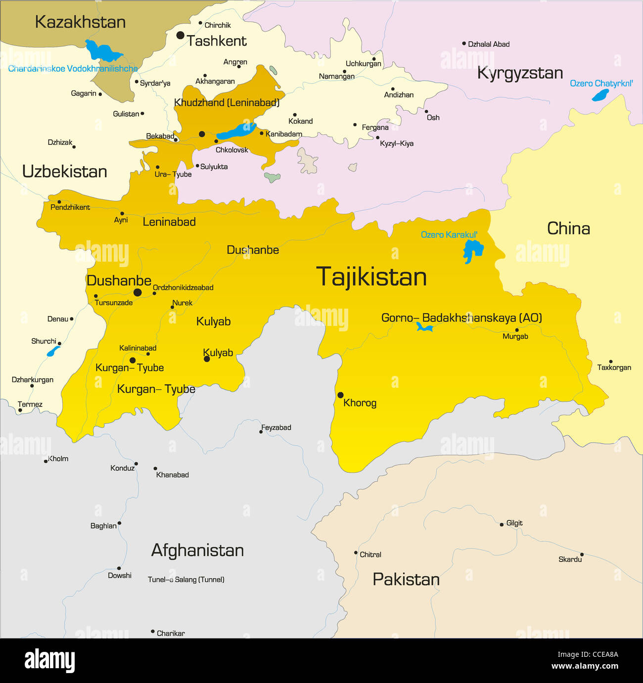 Vector color map of Tajikistan country Stock Photo Royalty Free