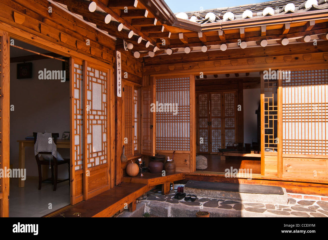 Traditional korean house with timber frames and clay roof tiles in bukchon hanok village seoul korea