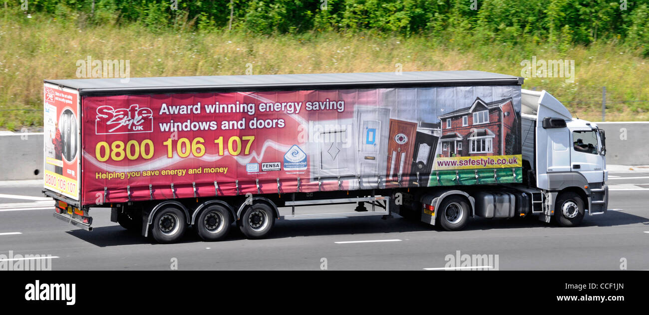 Lorry and trailer with advertising for Safe Style energy saving windows and doors & Lorry and trailer with advertising for Safe Style energy saving ... Pezcame.Com