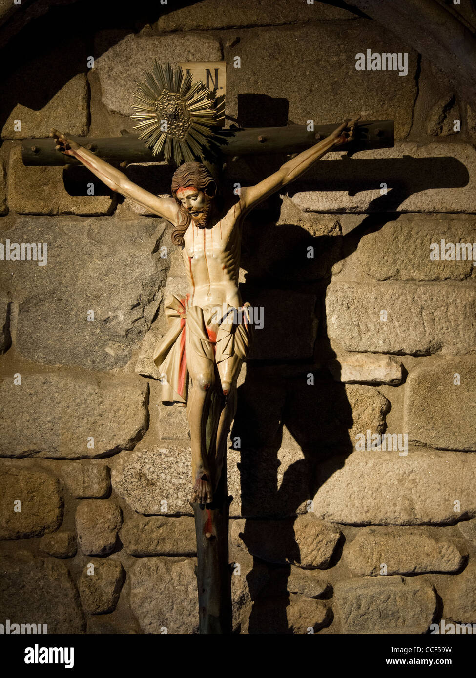 ancient statue of crucified jesus christ stock photo royalty free