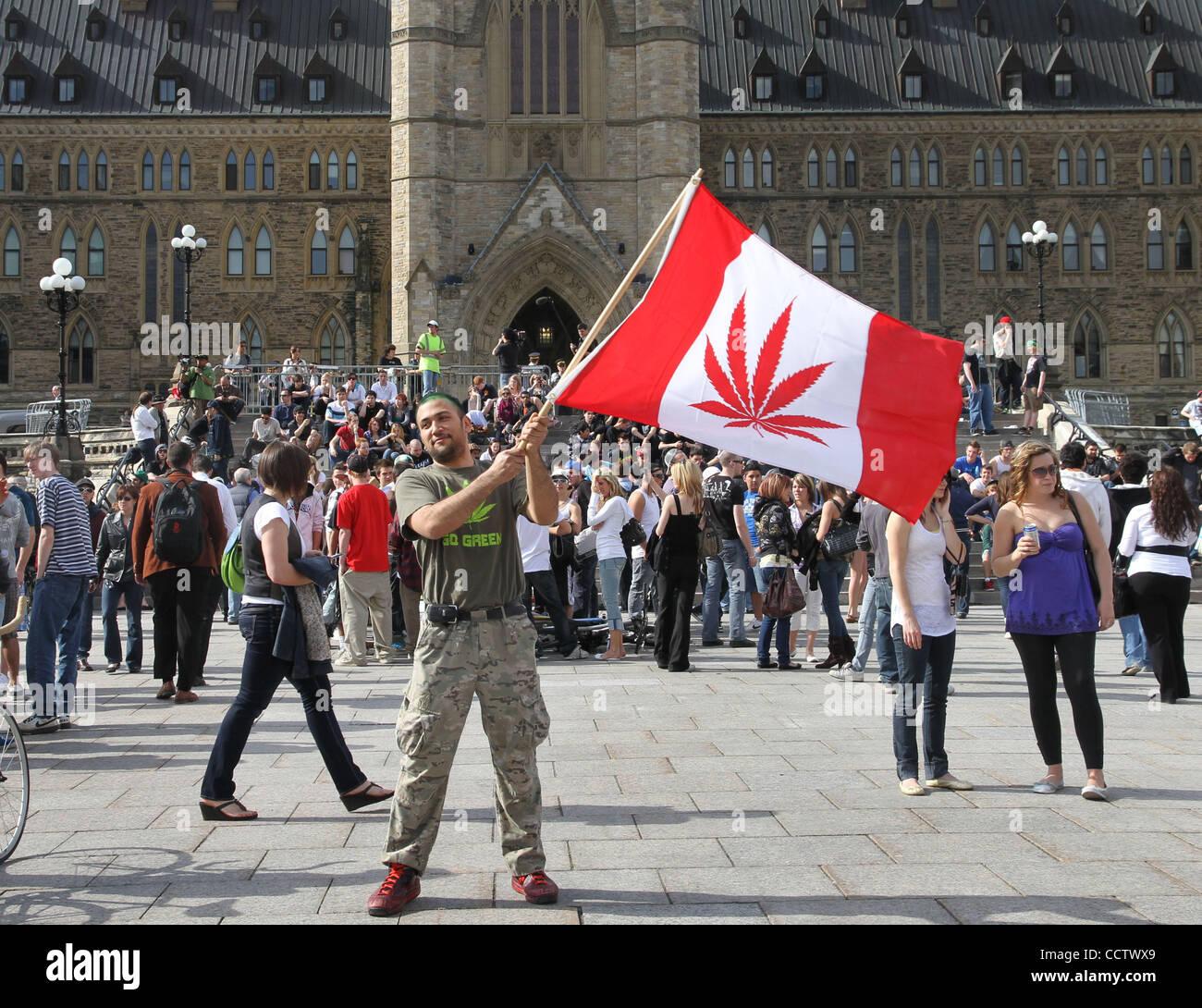 apr 20 2010 ottawa ontario canada a man waving a canada