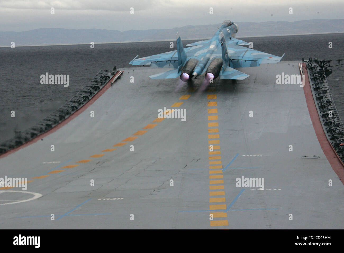 russian president dmitry medvedev visits admiral kuznetsov aircraft carrier of the russian northern feleet