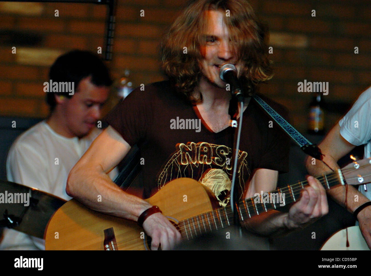 John Tipton ZUMA Press Swedish Band Dungen Led By Gustav Ejstes Plays Tuesday Nov 11 2008 At The Cellar Door In Visalia Ca On Drums Background Is