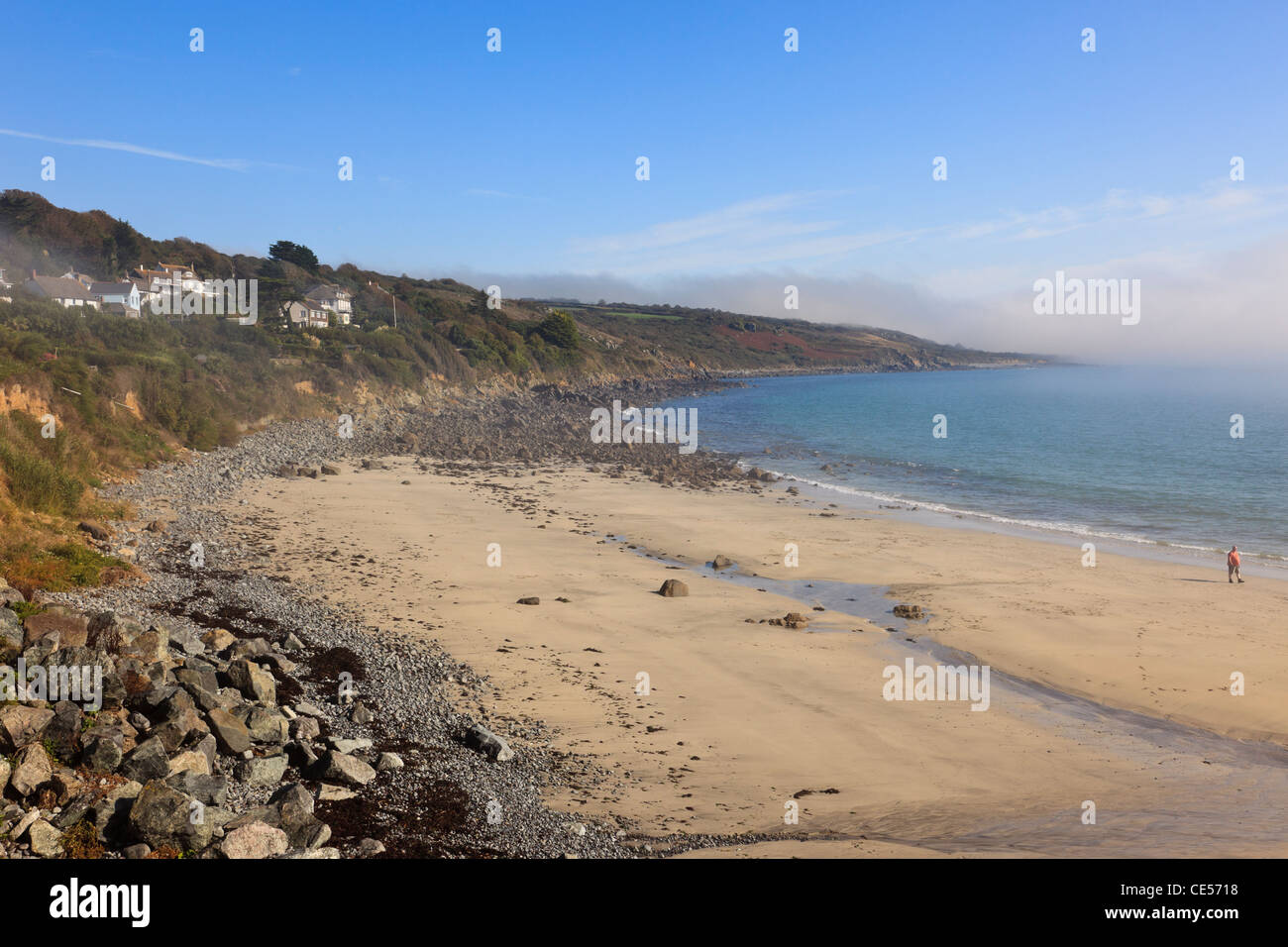 Quiet Sandy Beach At Low Tide With Sea Mist On The Cornish South Coast In Coverack Cornwall England Uk Britain