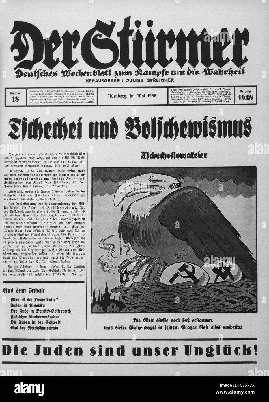 Nazi Newspaper Stock Photos amp Nazi Newspaper Stock Images Alamy Front Page Of Der Sturmer German Weekly Tabloid Format Nazi Newspaper CEDX Nazi Newspaper