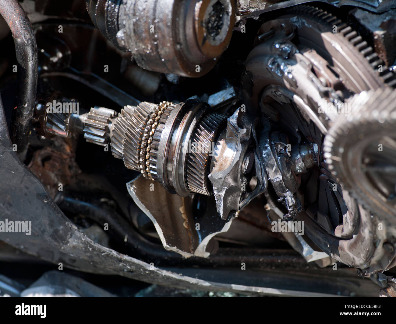 Broken Car Engine Gearbox And Clutch Assembly Stock Photo