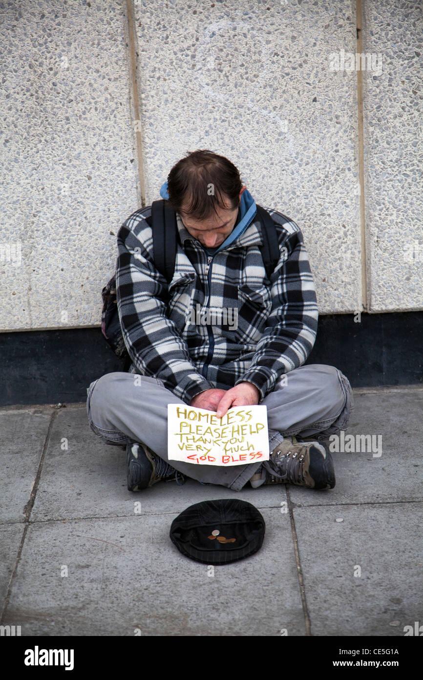 Homeless Man Asking for Money on Southbank - London UK