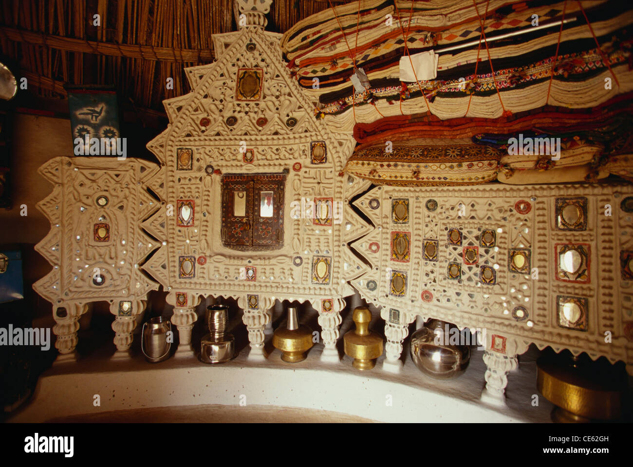 Rabari House Interior Utensils Mirror Handicrafts Wall