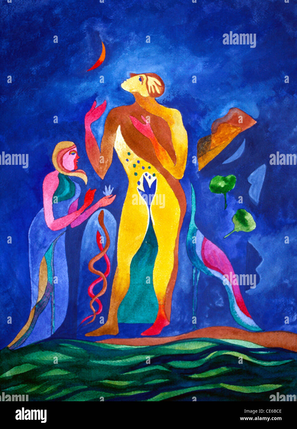watercolor painting adam and eve with moon fig leaf snakes birds