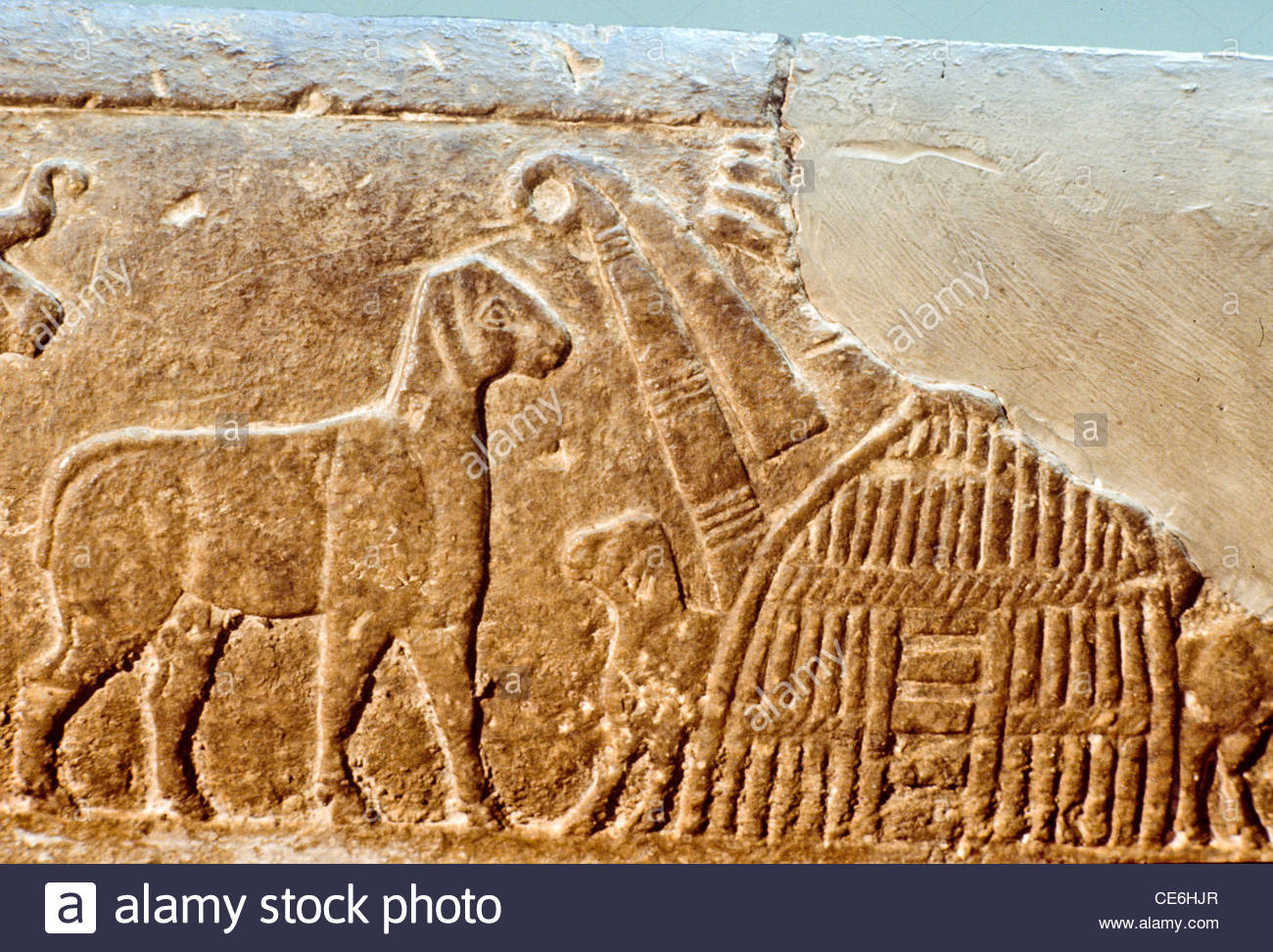 Carving on stone tablet relief of sumerian reed house