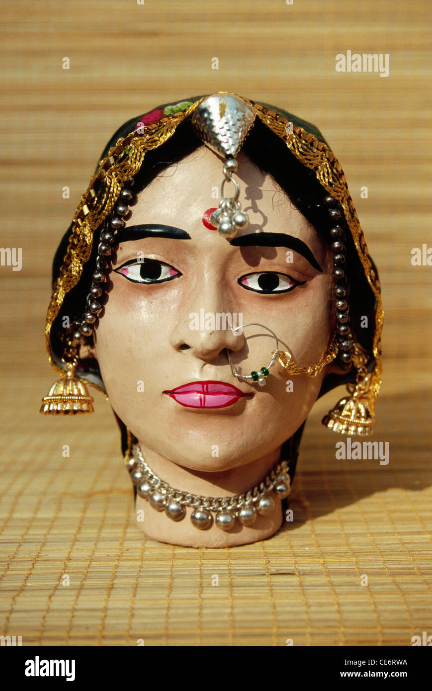 BDR 85100 : mannequin head of rajasthani indian woman nose ring ...