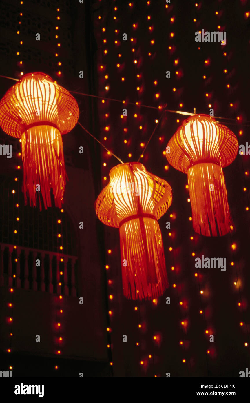 MMN 81256 Three Paper Lanterns Hanging On Diwali Indian Festival Of Lights India