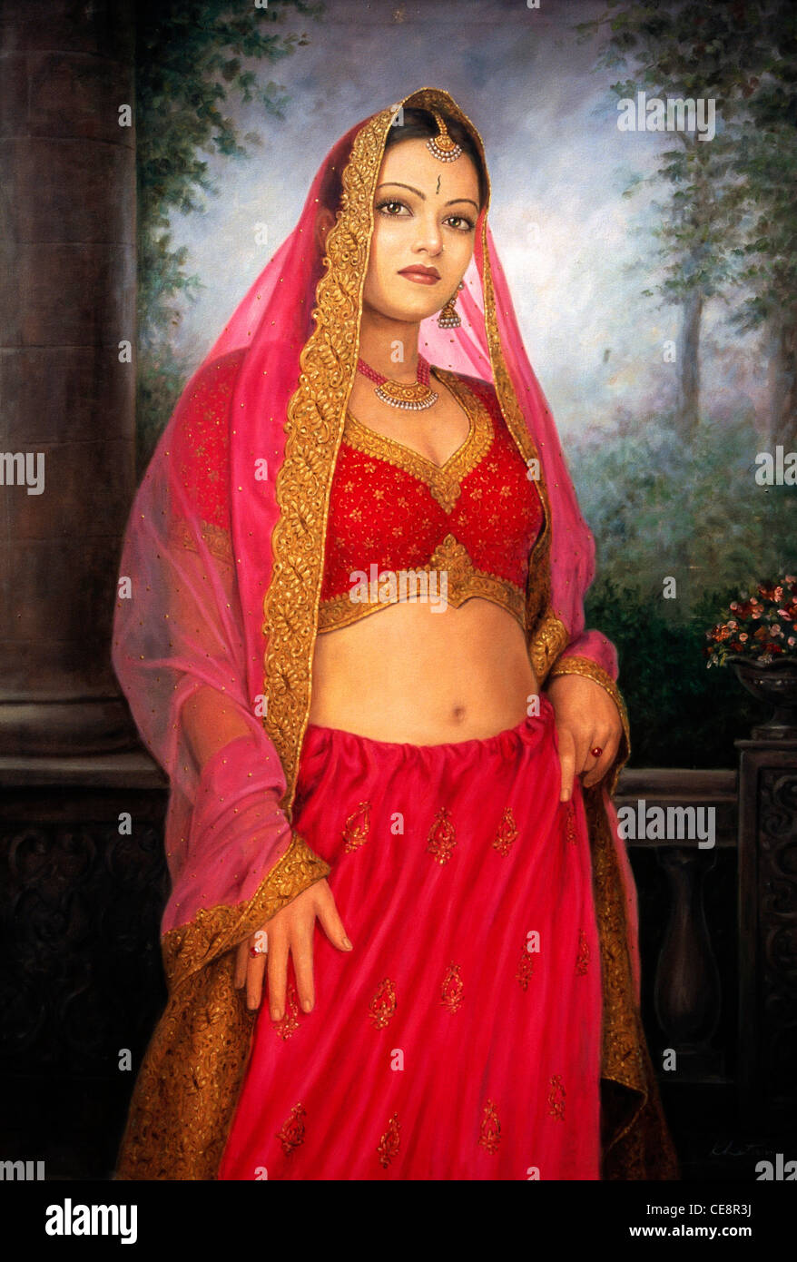 Bdr 80573 Painting Of Indian Women Bride Wearing Marriage