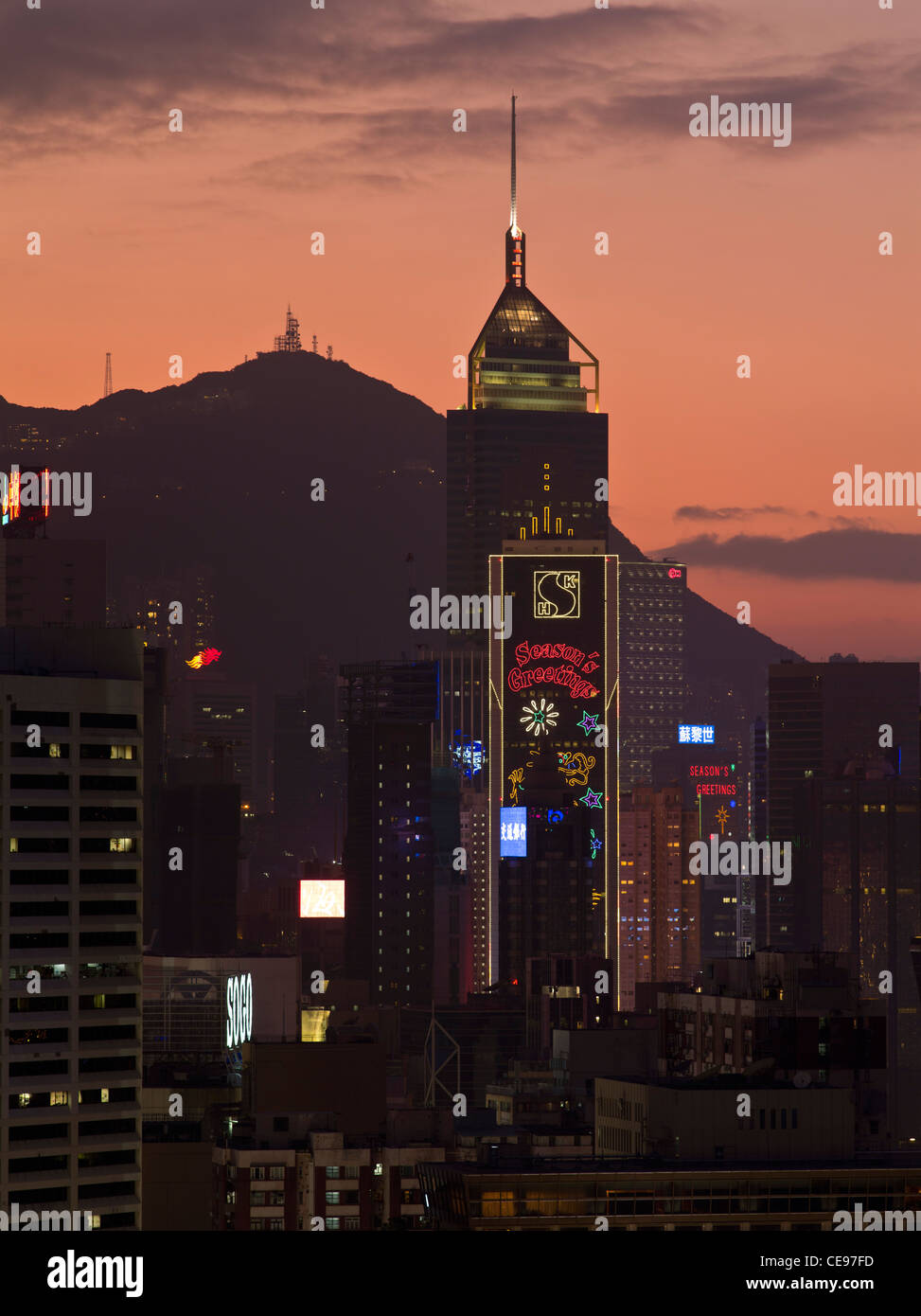 Dh Central Plaza Tower WAN CHAI HONG KONG Night Lights Victoria Peak Sunset  Skyline Dusk