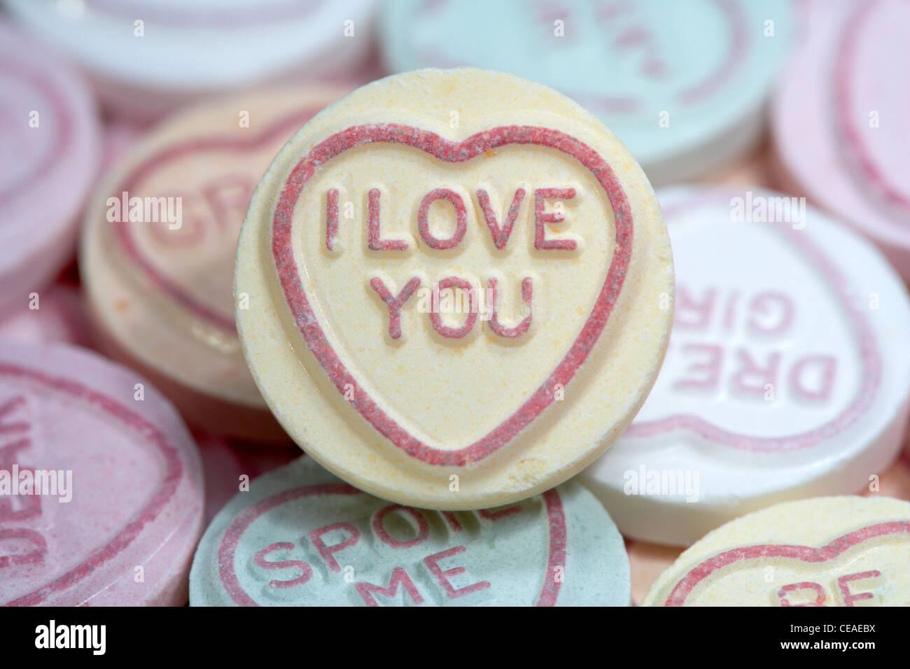 I Love You Imágenes De Stock I Love You Fotos De Stock: I Love You Amongst Love Heart Sweets Stock Photo, Royalty