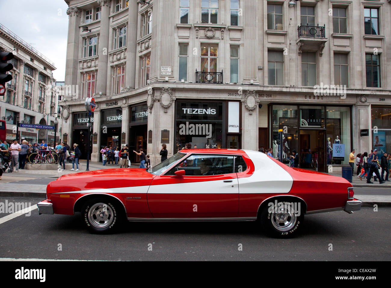 Stock Photo - The famous red car used in the hit American movie and tv show Starsky and Hutch. The Ford Gran Torino. London UK & The famous red car used in the hit American movie and tv show ... markmcfarlin.com