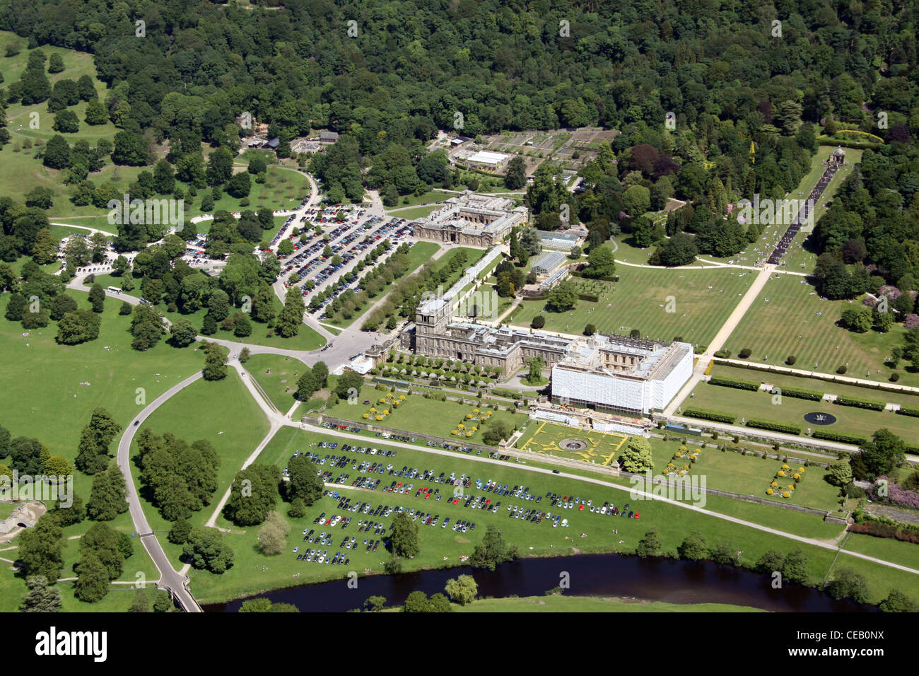 Aerial Image Of Chatsworth House Derbyshire Stock Photo
