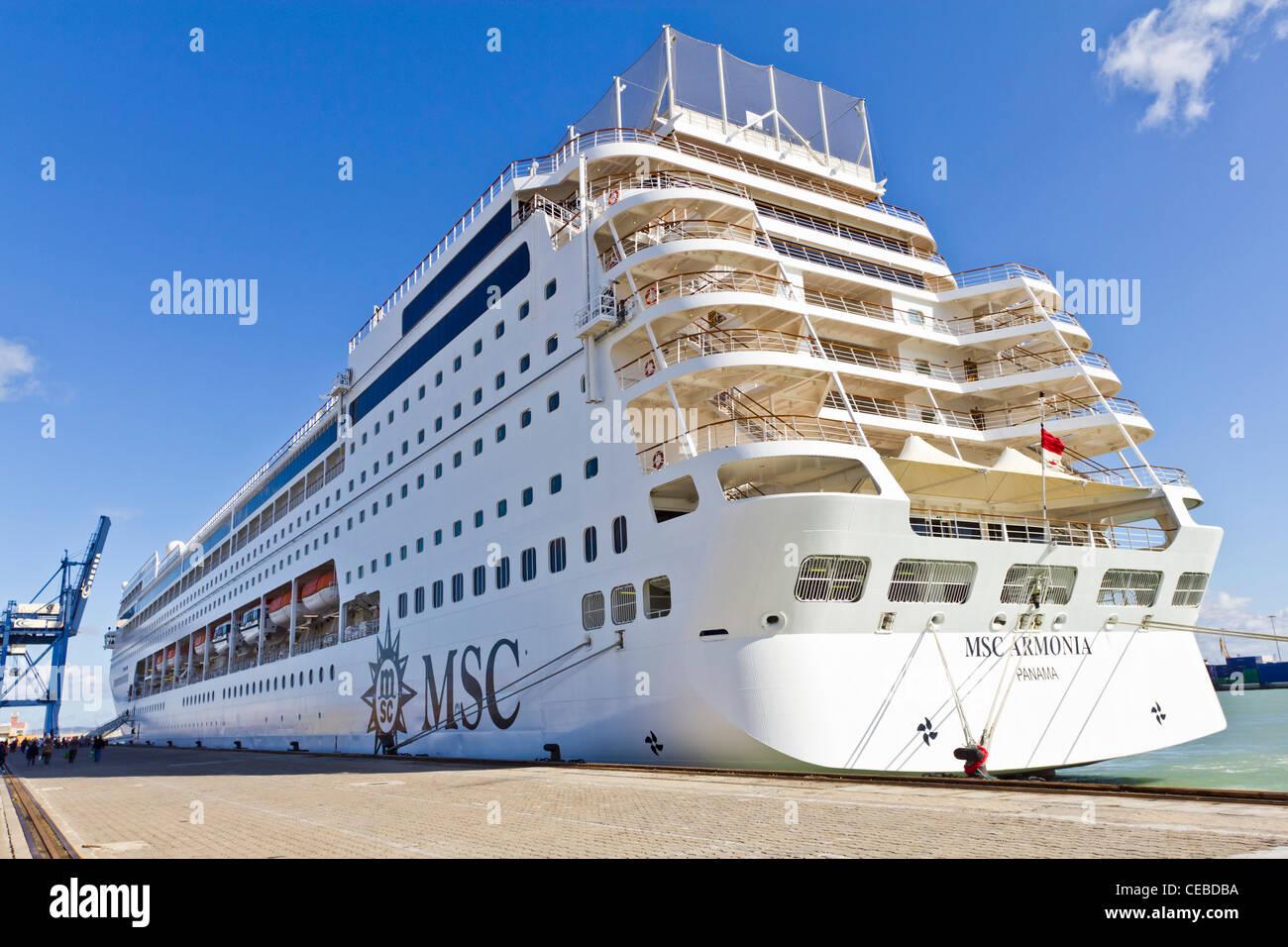 MSC Armonia Cruise Ship Docked At Cadiz Spain Stock Photo - Msc armonia