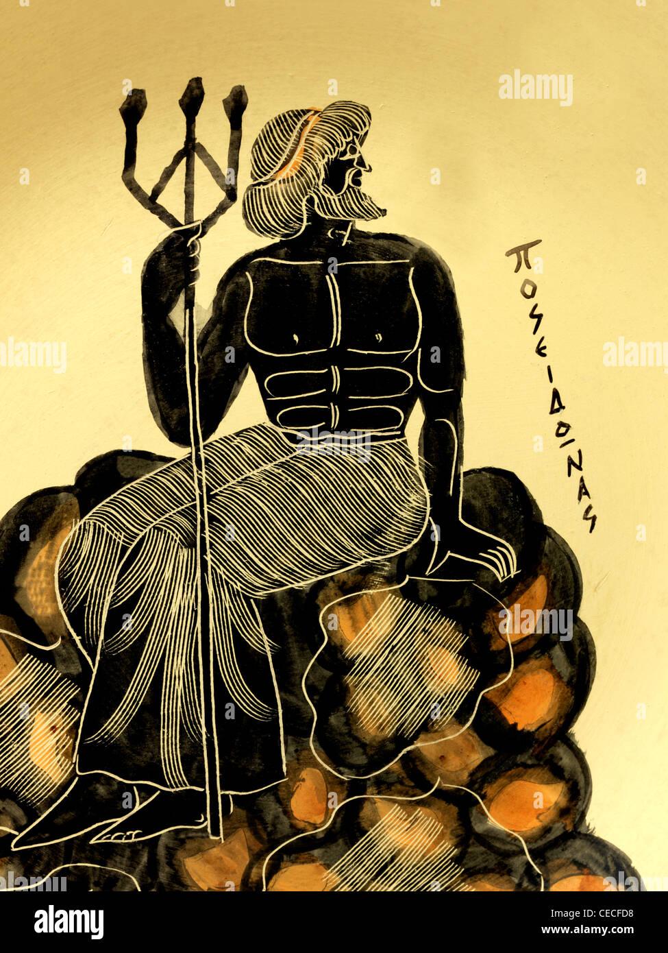 greek plate depicting poseidon sitting on rocks holding a trident