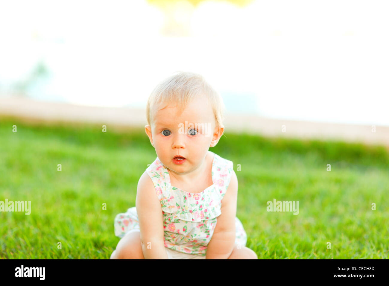 Portrait Of Interested Baby Sitting On Grass Stock Photo