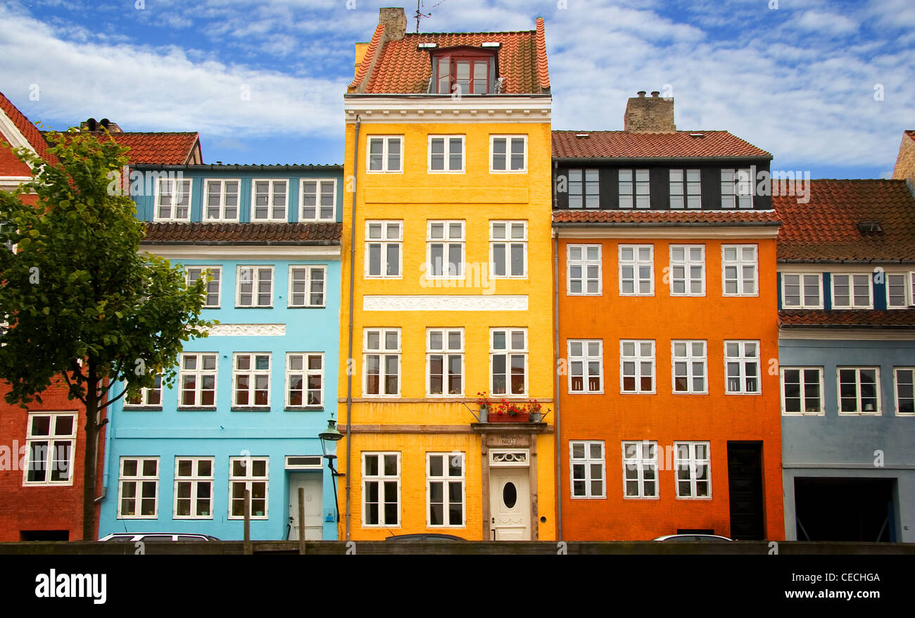 Color Photograph Of Buildings Along The Old Port Nyhavn In Copenhagen. 17th  Century Waterfront, Canal And Entertainment District