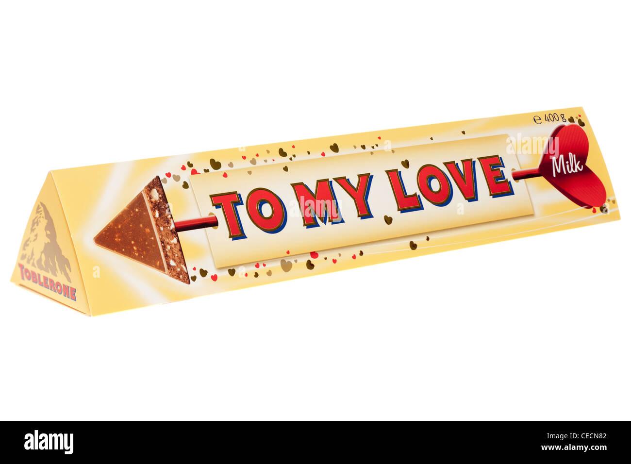 400 gram Toblerone Valentine To My Love milk chocolate bar Stock ...