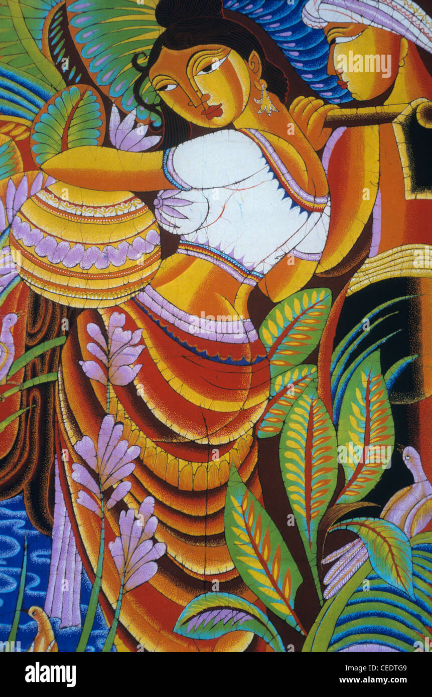 Traditional paintings on batiks matale sri lanka stock for Art decoration sri lanka