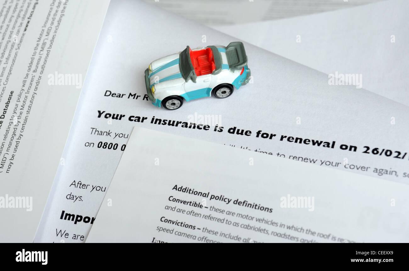 Model Car With Motor Insurance Renewal Letter Re Motoring