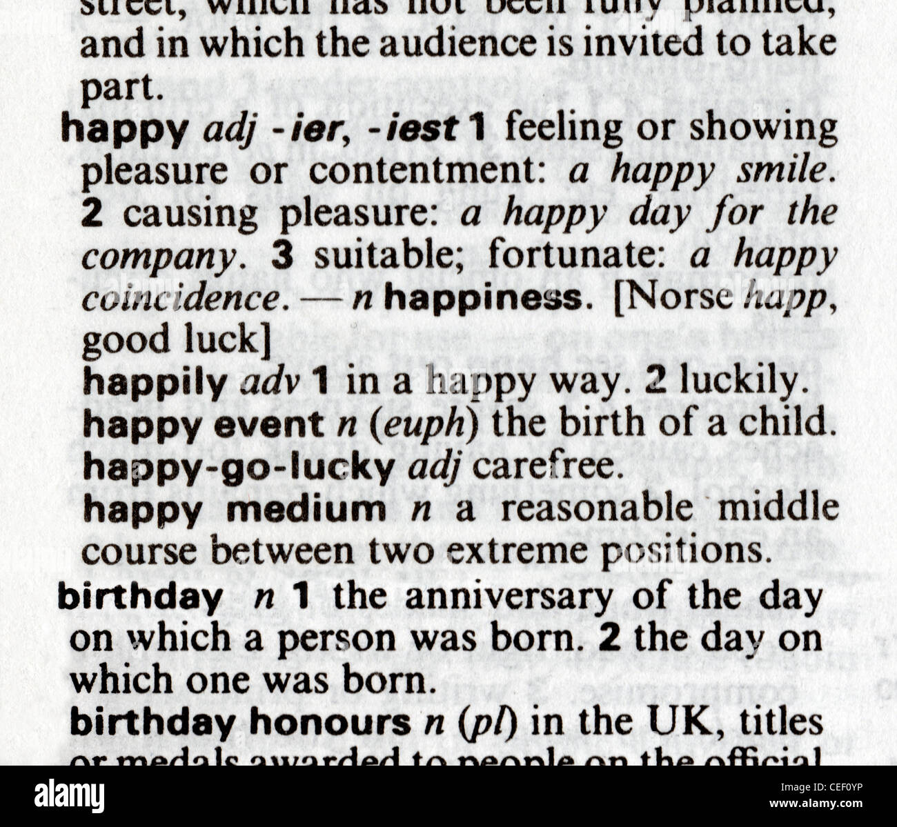 Dictionary definitions of happy and birthday pasted for Together dictionary
