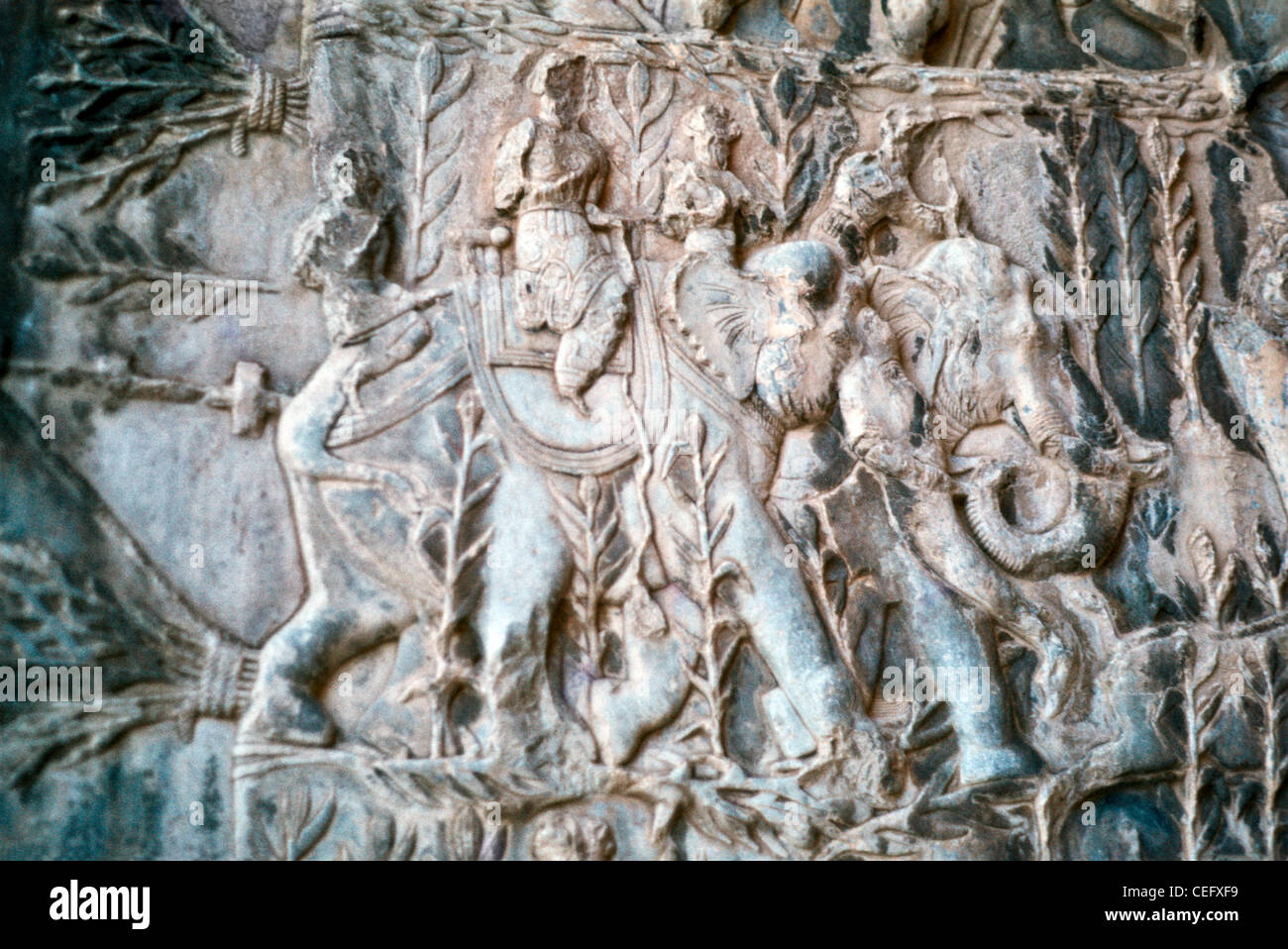 Iran kermanshah bas relief carving of a boar hunt on