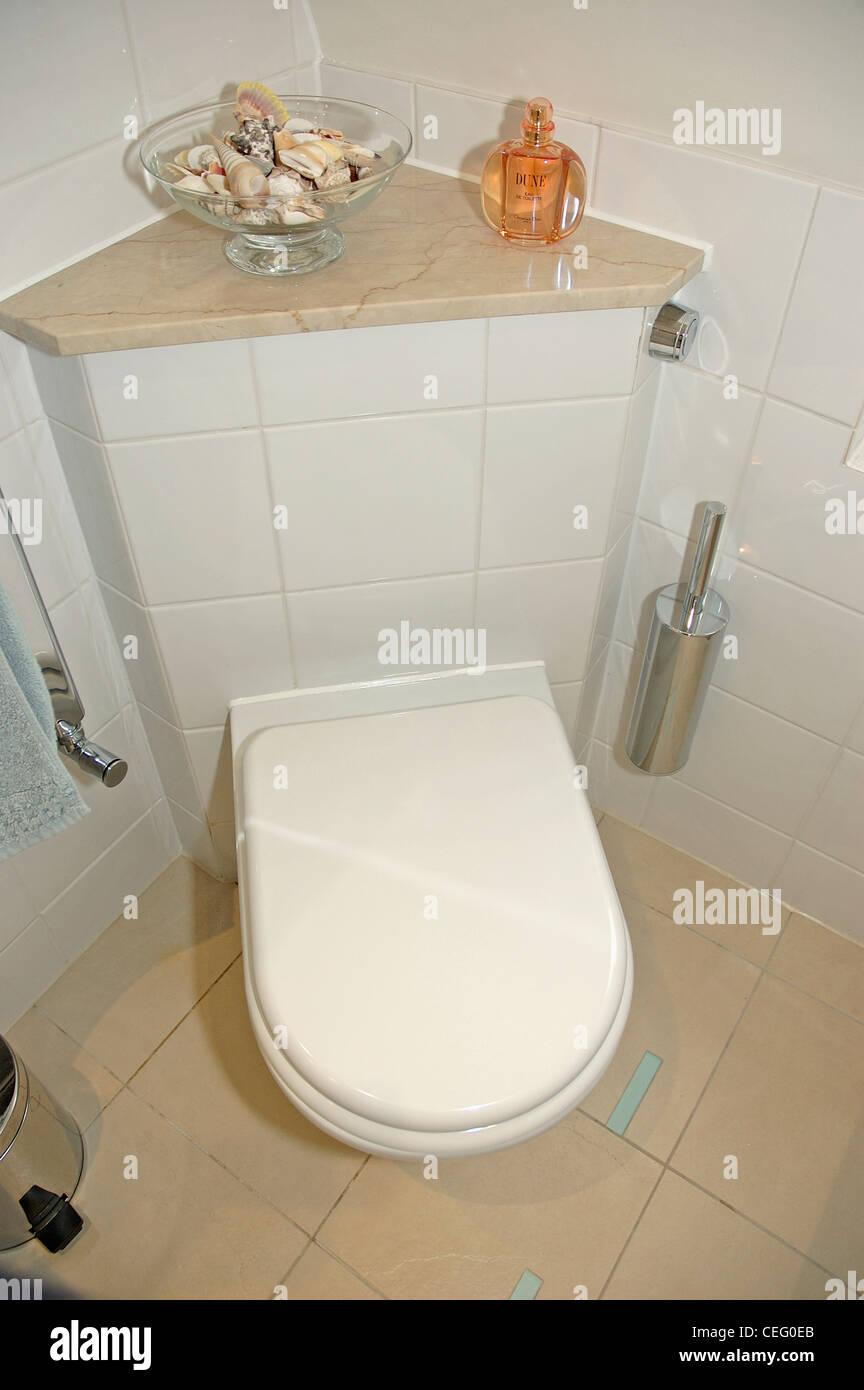 Close Up Of White Toilet In Corner Modern Bathroom