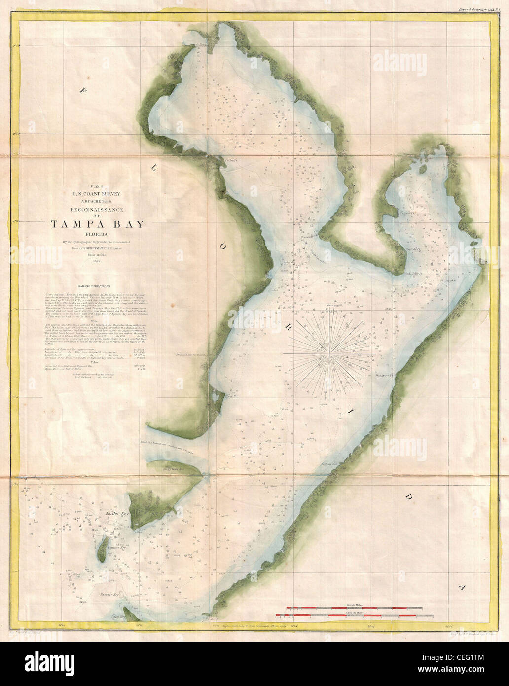 US Coast Survey Chart Or Map Of Tampa Bay Florida Stock - Where is tampa on map of us