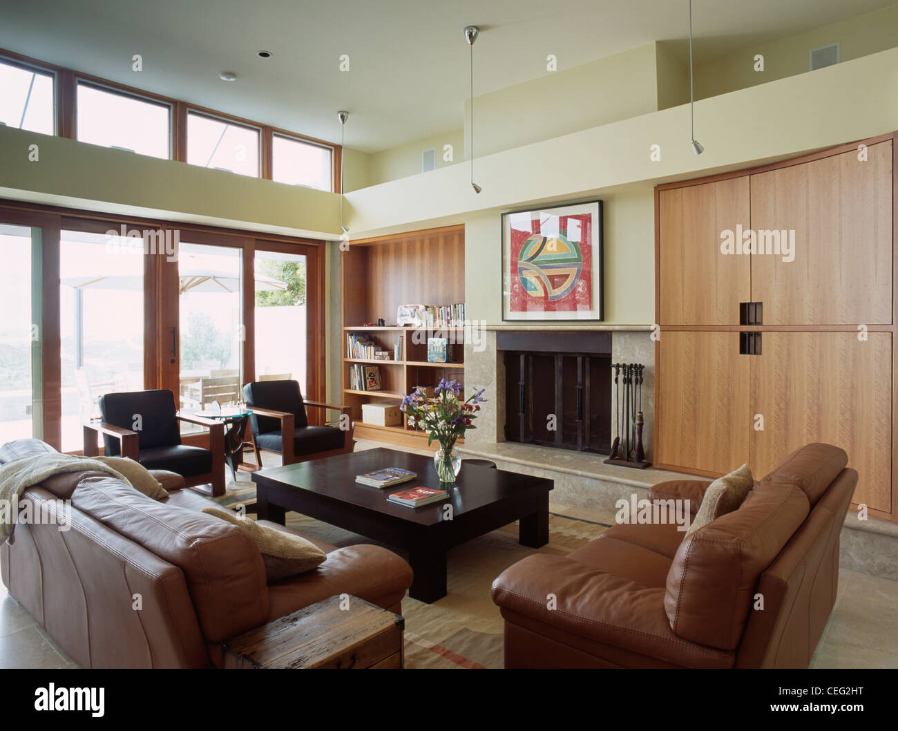 Of Living Rooms With Leather Furniture Brown Leather Sofas In Modern Double Height Living Room With Large
