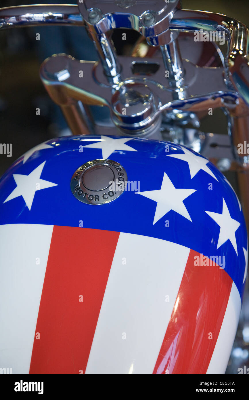 Harley Davidson fuel tank painted with stars and stripes Stock Photo, Royalty Free Image