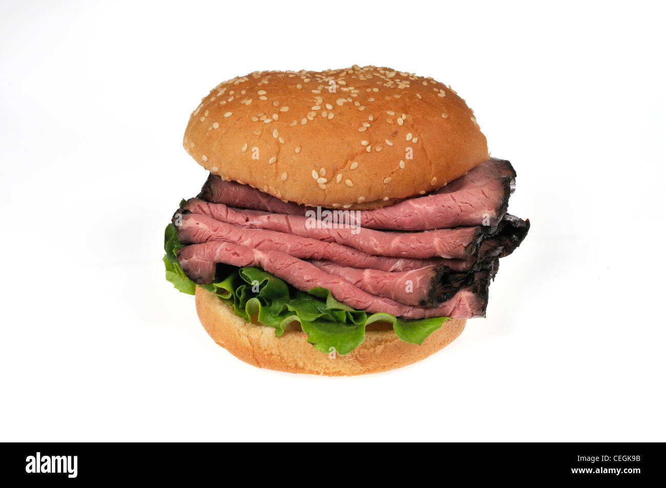 Roast beef with lettuce and tomato salad sandwich on sesame seed Stock ...