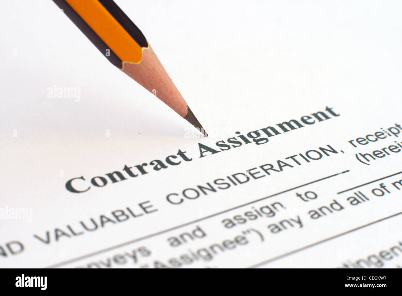 Stock Photo   Contract Assignment