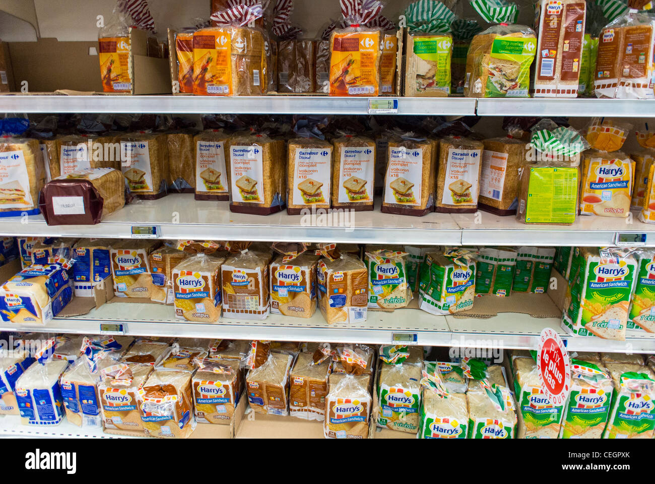 Industrial Food Products : Paris france industrial breads on display food products