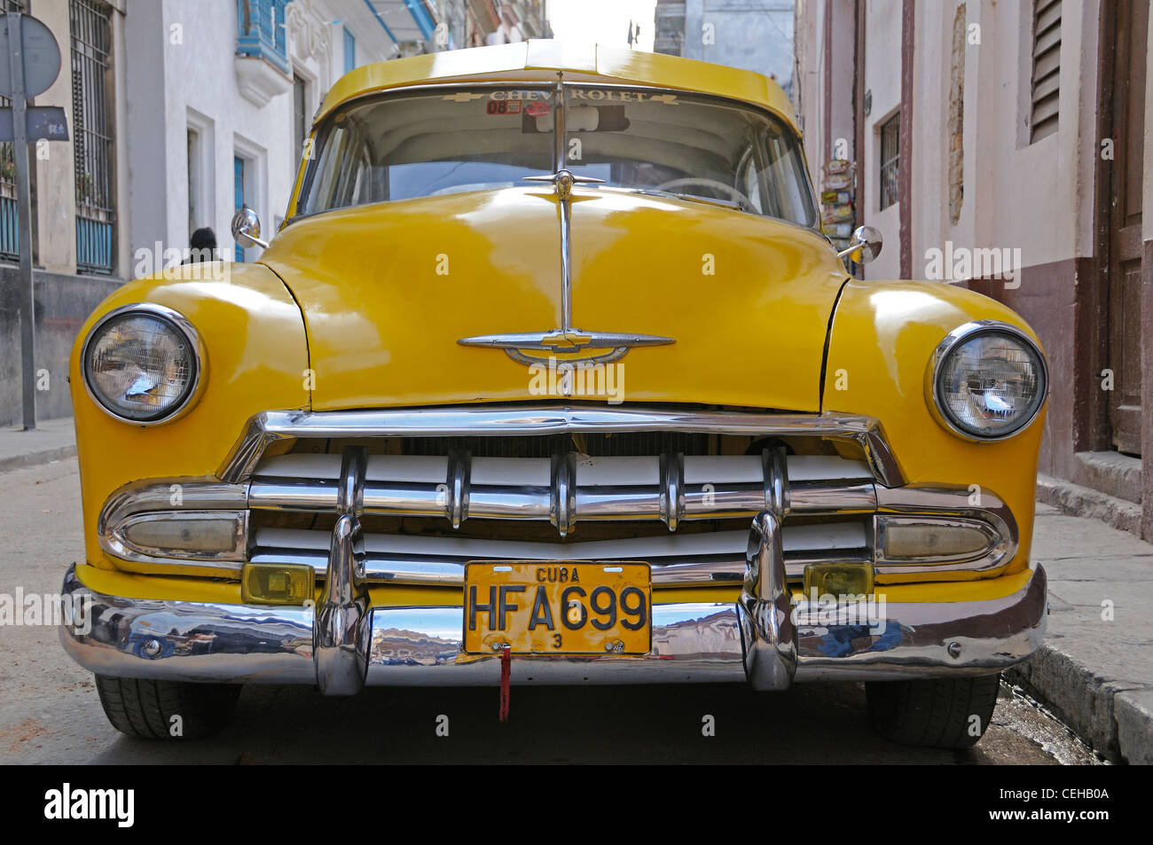 old chevrolet car on Cuba, yellow oldtimer, Cuba, Caribbean Stock ...