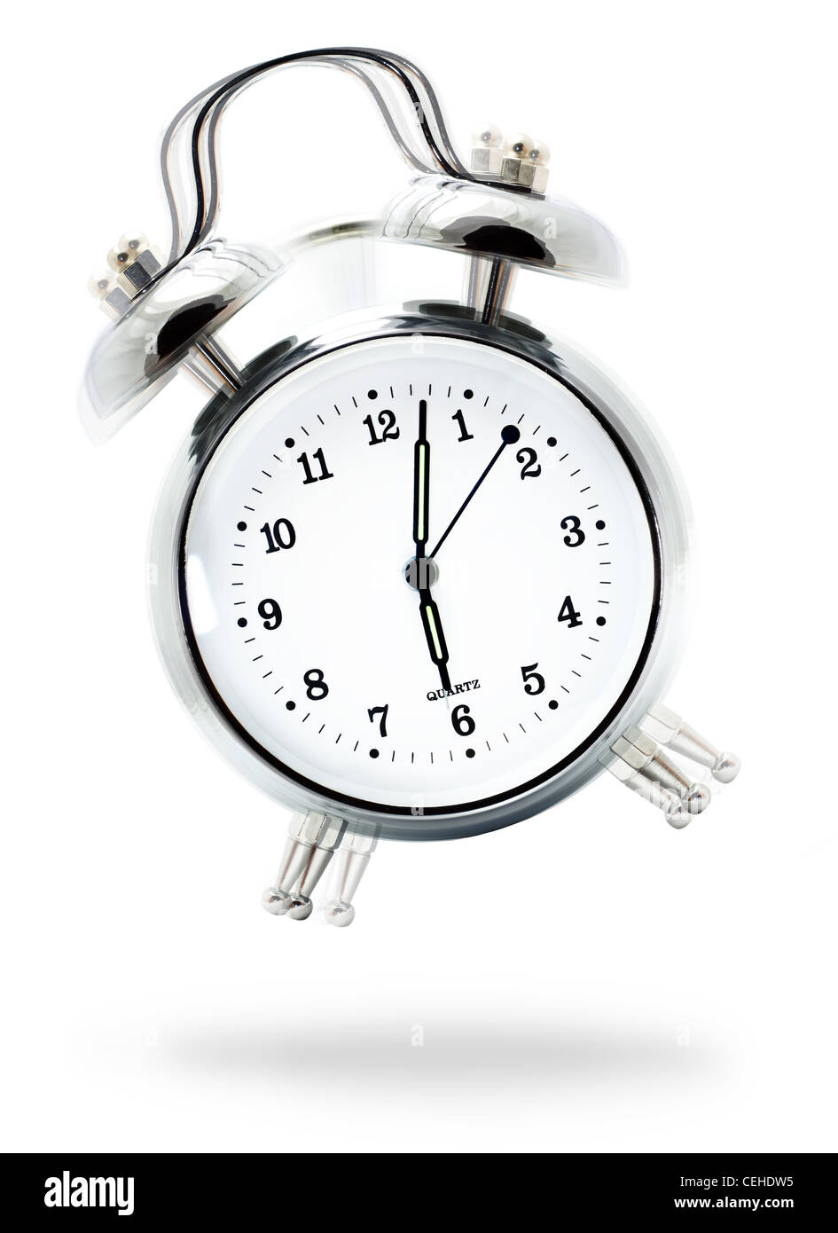 alarm clock ringing. classic white alarm clock ringing at six ou0027clock isolated against a background w