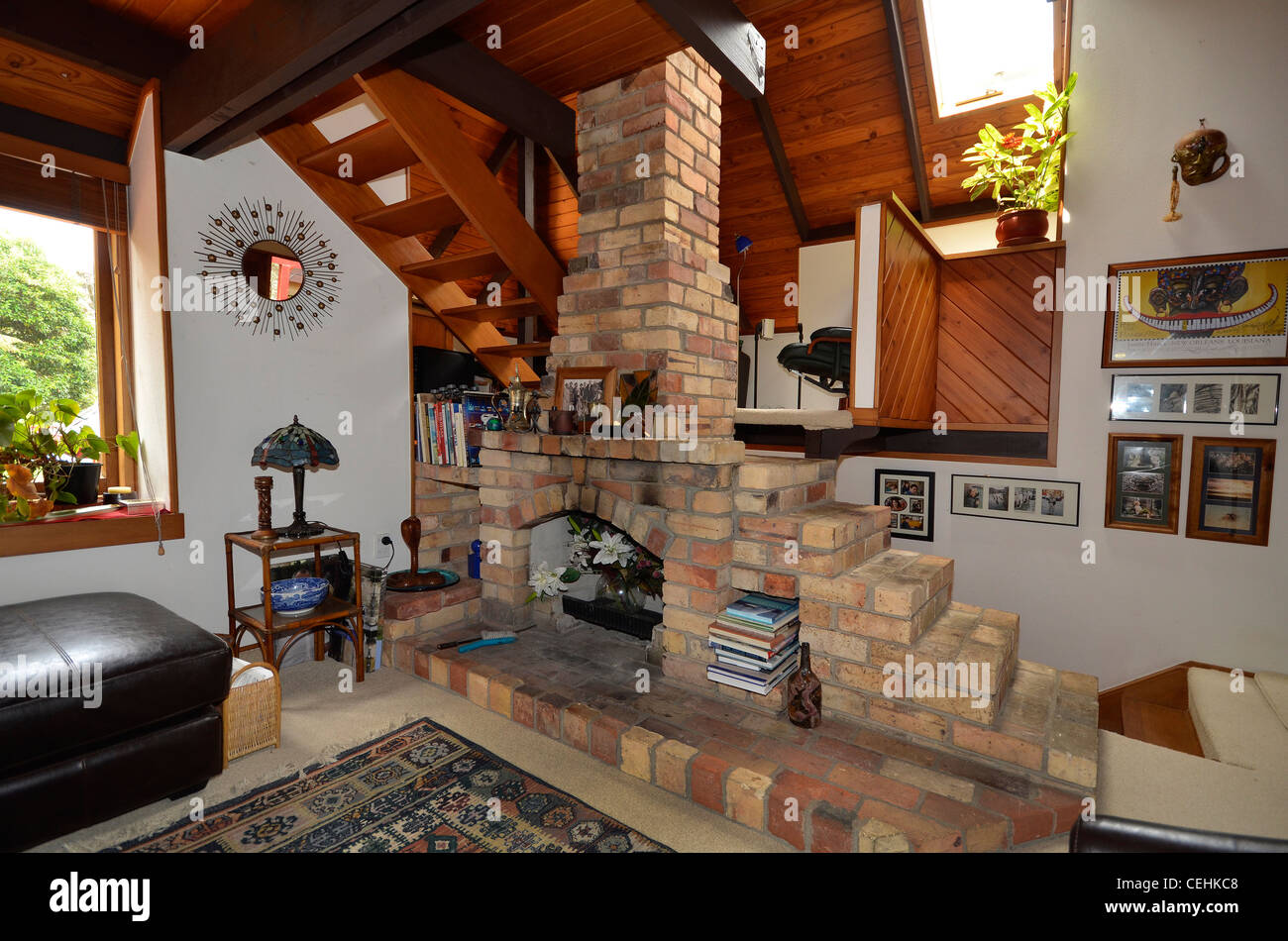open brick fireplace and chimney sitting room 1978 timber house