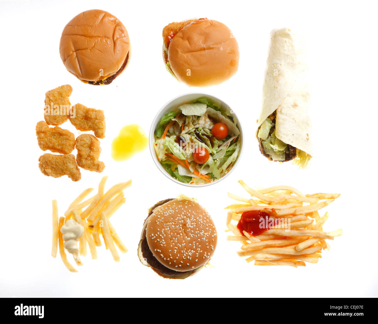 Fast Food, Nutrition. Different Fast Food Products. Burger