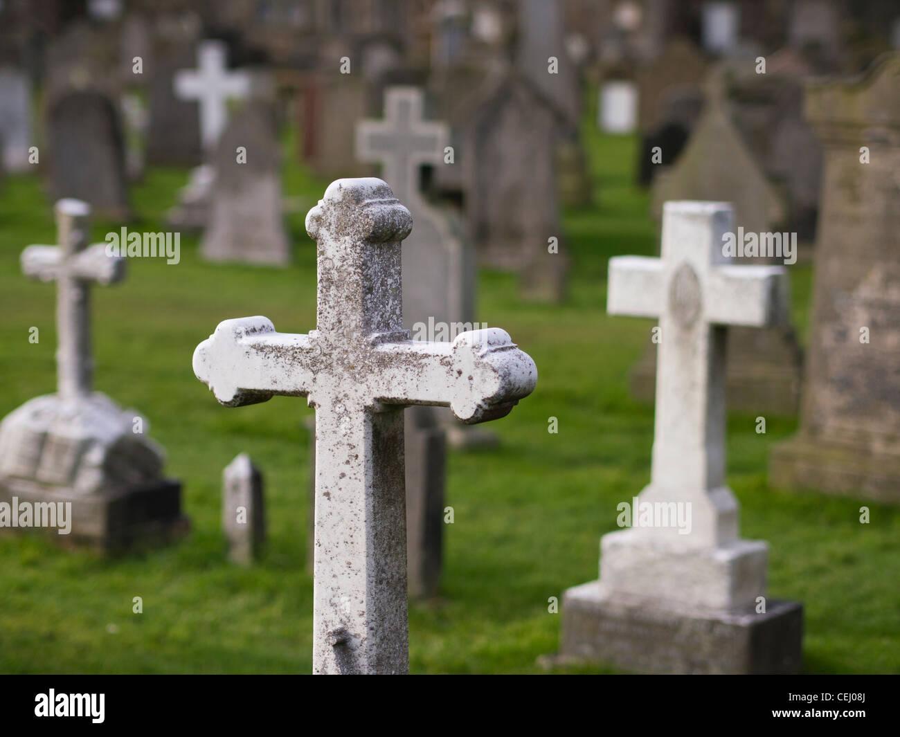 Crucifix gravestones in a cemetery st andrews scotland stock crucifix gravestones in a cemetery st andrews scotland buycottarizona