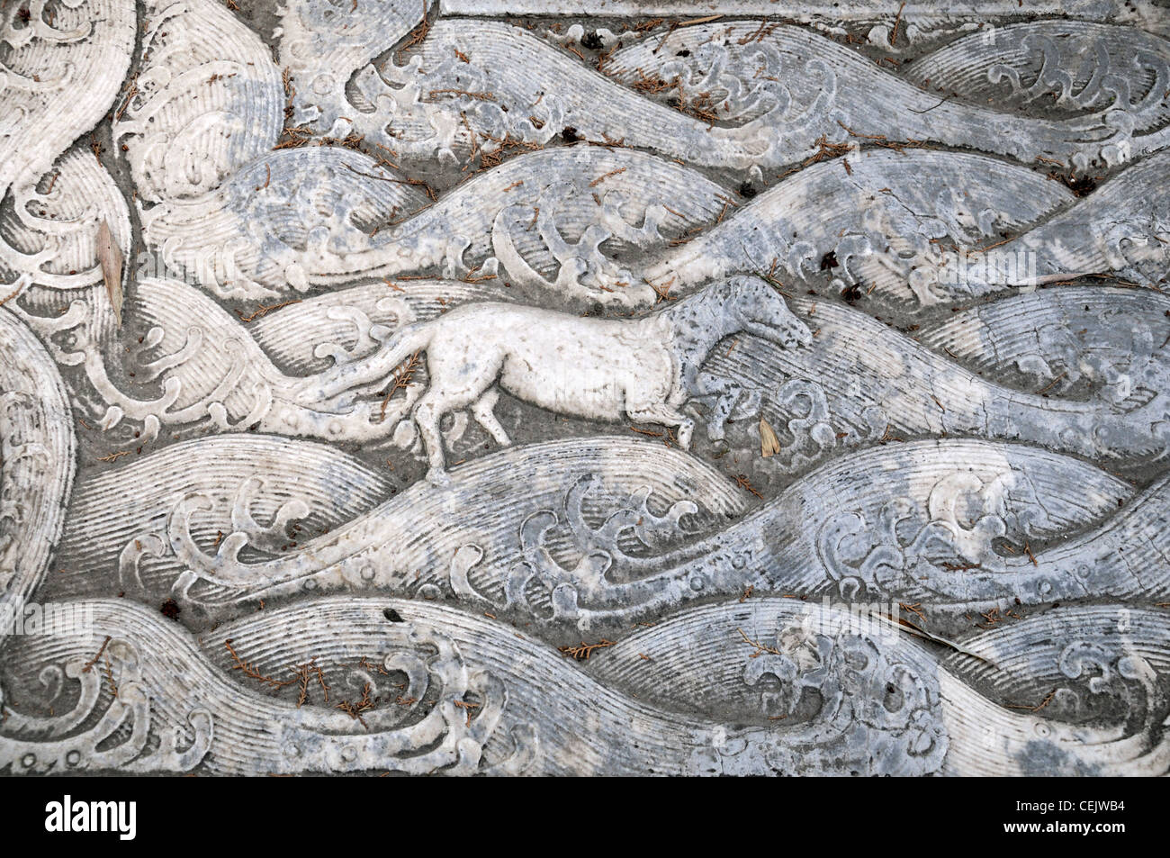 Carved Stone Slab : Intricate intricately carved carving stone slab bas relief