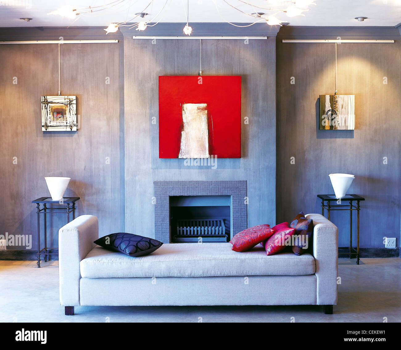 Living Room Slate Grey Coloured Walls Light Daybed Pink And Blue Cushions Square