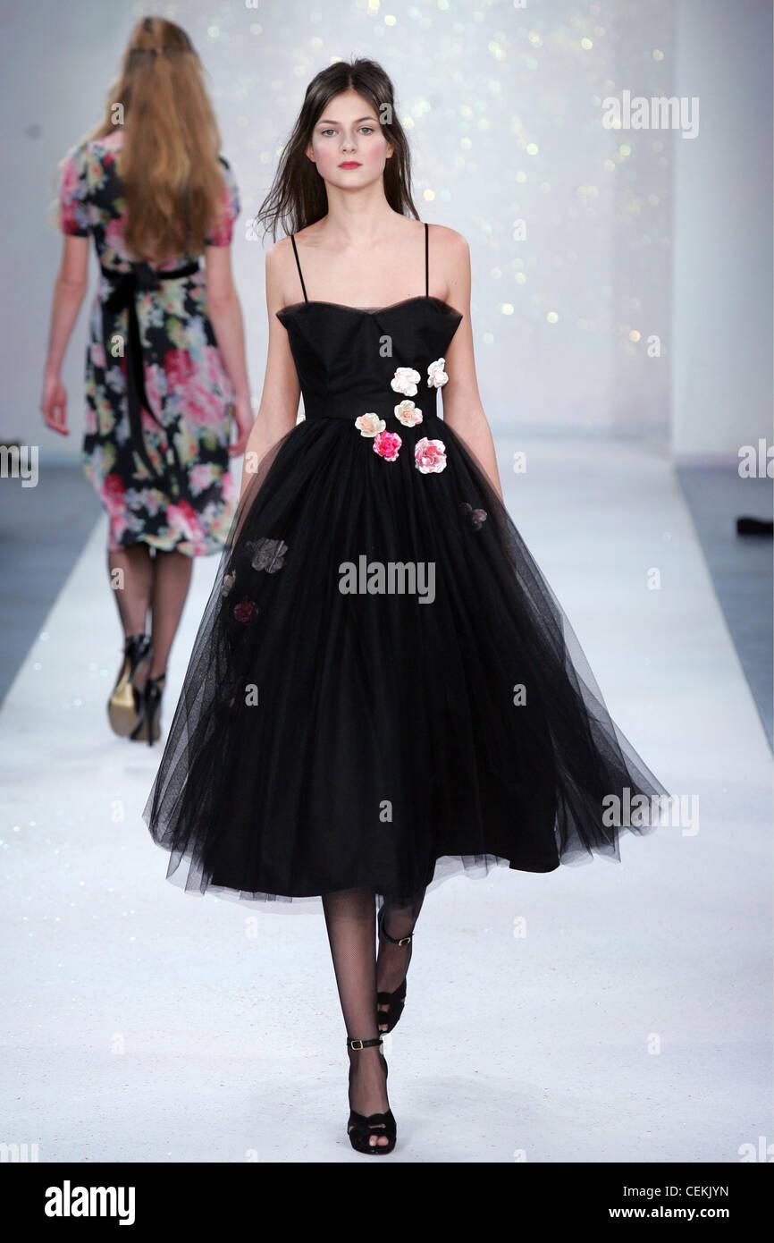 Black dress very - Model Very Long Brunette Hair Wearing Black Dress Spaghetti Straps Cone Shaped Bra And Satin