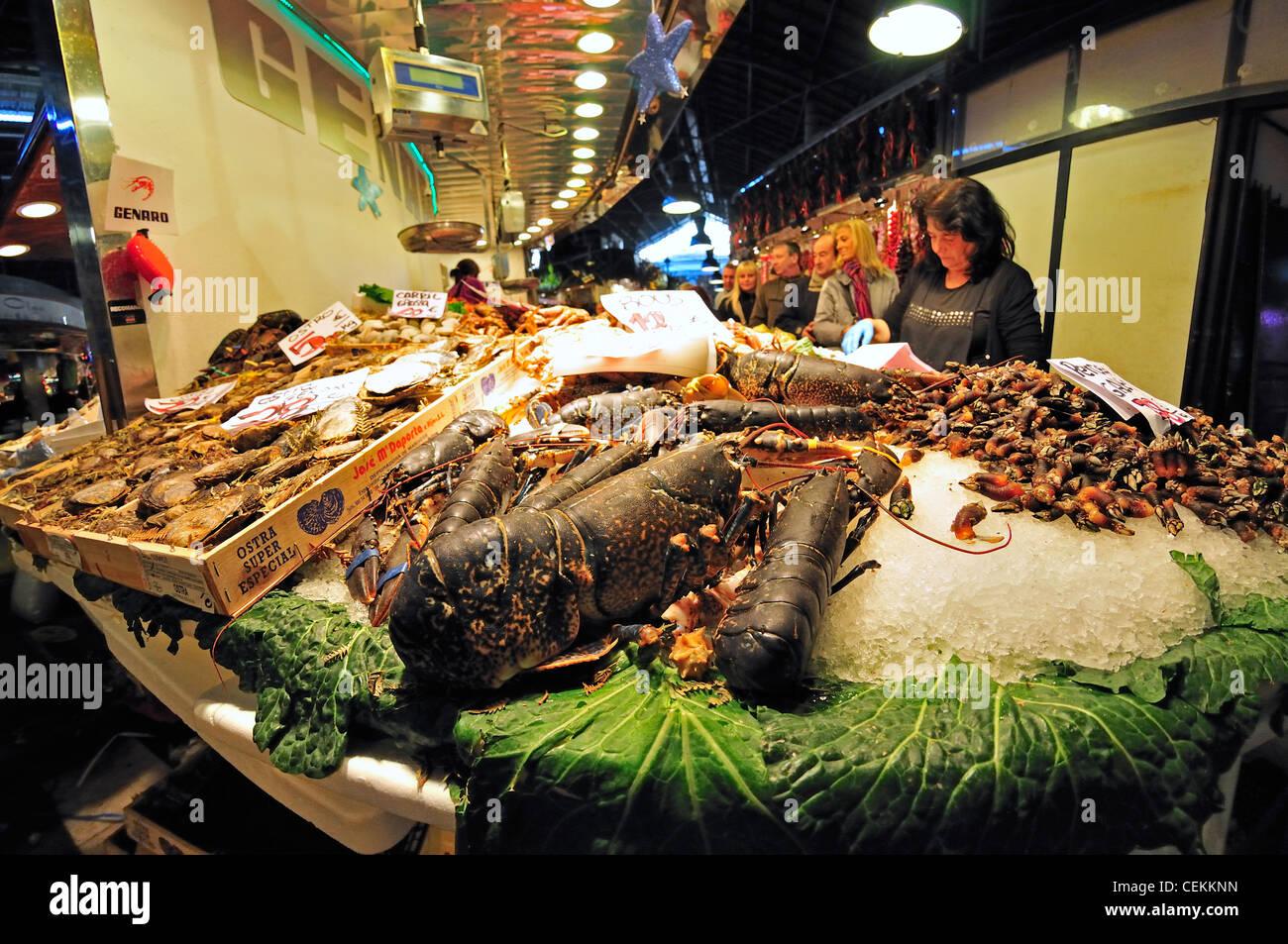 Barcelona spain la boqueria market fish and seafood for La fish market