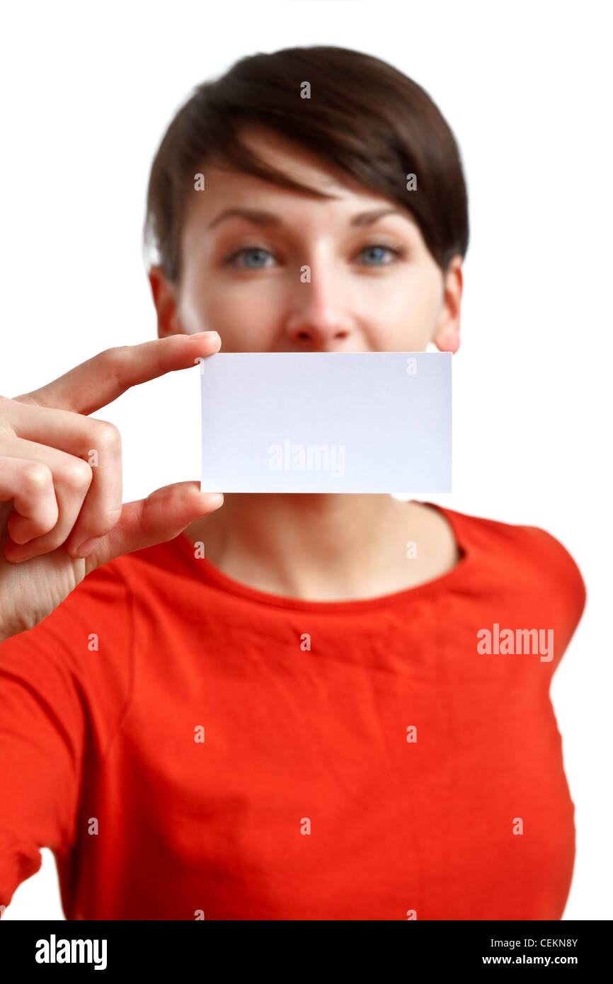 beautiful girl showing blank business card - sharpness on the card ...
