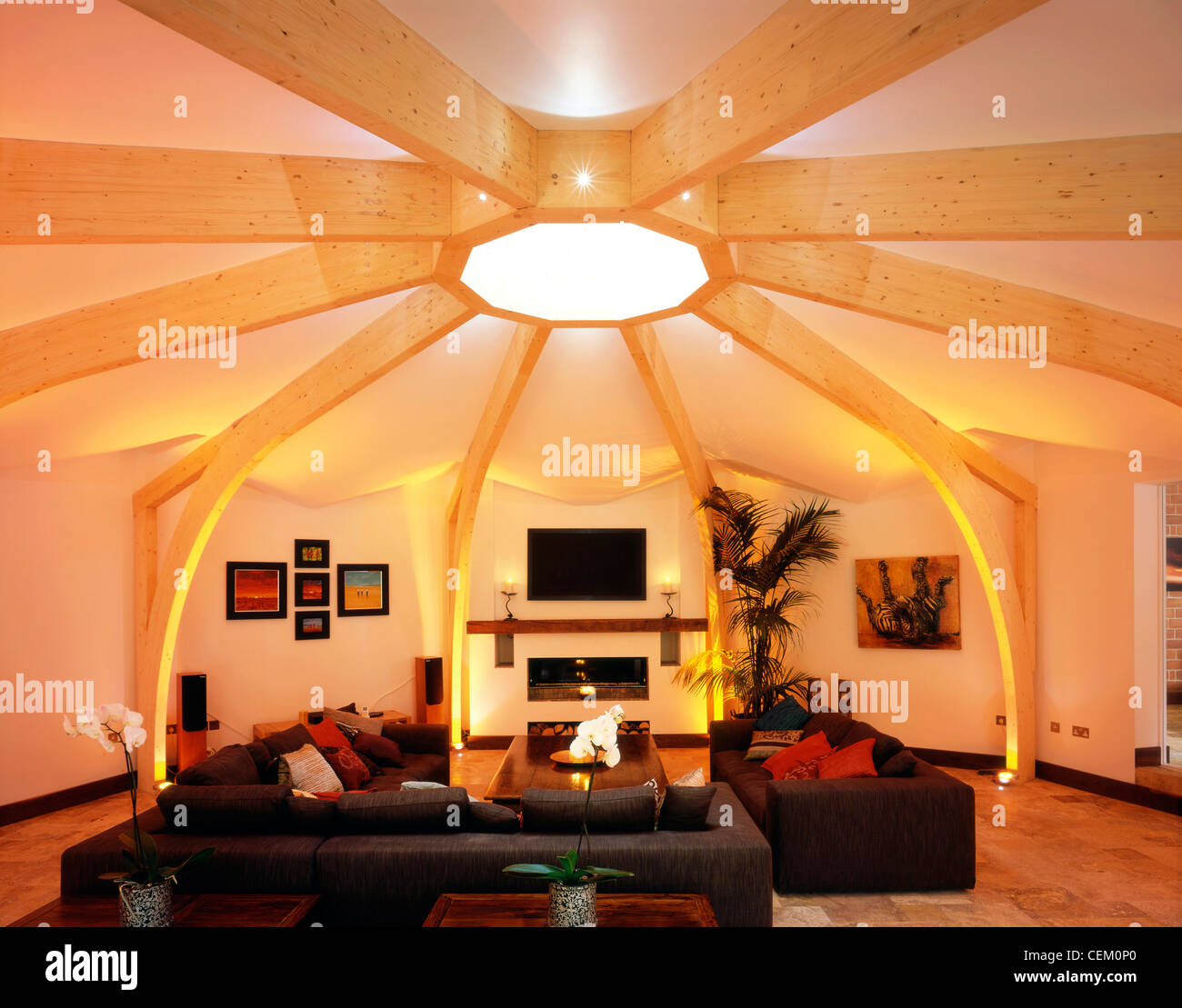 The Interiof Decagon House In Oxford UK Showing Living Room