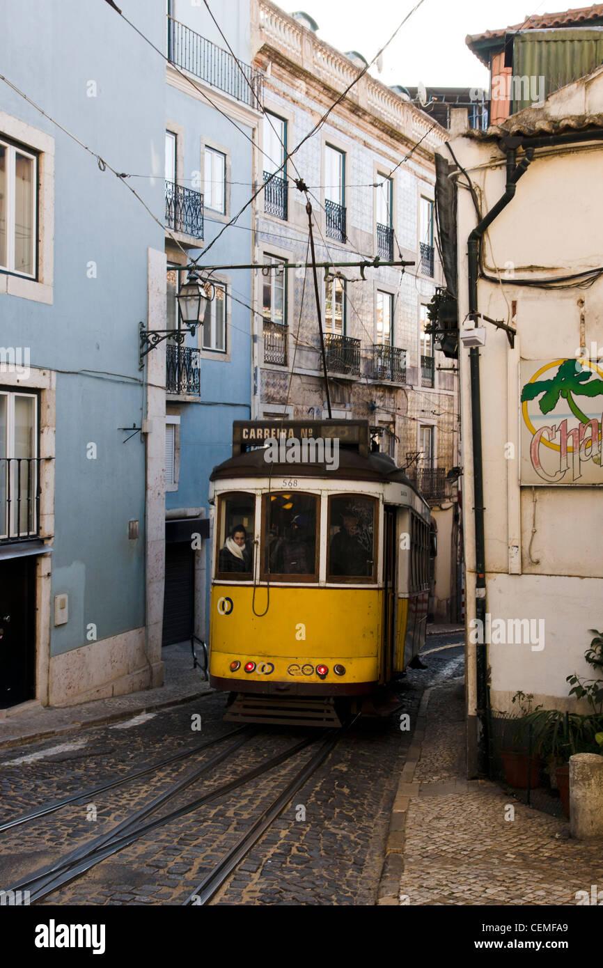 historic-tram-28-in-a-narrow-street-in-a